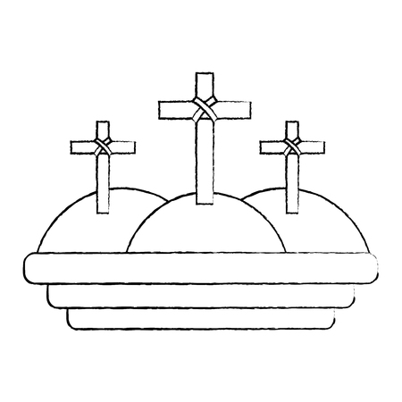 three crosses in the mountain religious scene vector illustration sketch design Иллюстрация