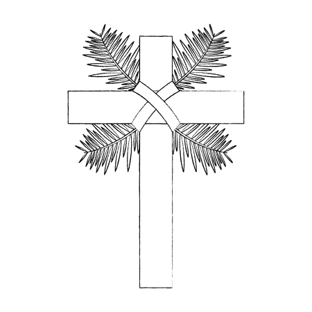 traditional branch palm christian cross symbol vector illustration sketch design