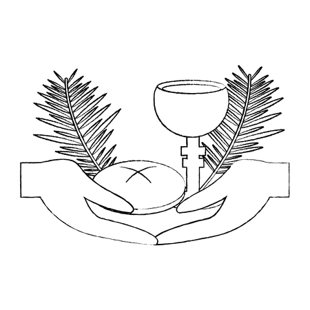 catholic tradition hand bread cup grail and palm branch vector illustration sketch design Stock Vector - 96047113