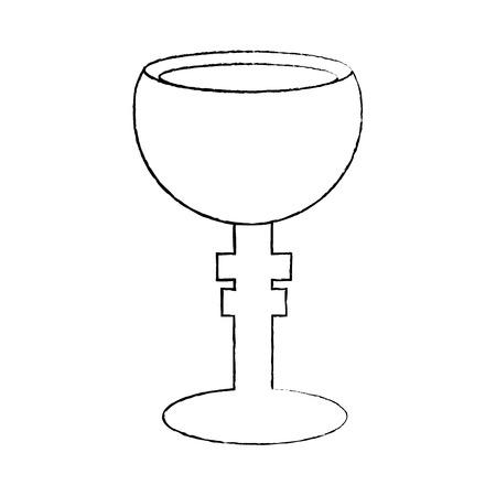 전설적인 기독교 그릇 성배 벡터 일러스트 스케치 디자인