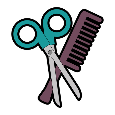 scissors tool with comb vector illustration design  イラスト・ベクター素材