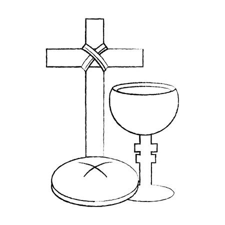 heilige week katholieke traditie cross breand en grail vector illustratie schetsontwerp