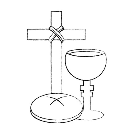 holy week catholic tradition cross breand and grail vector illustration sketch design