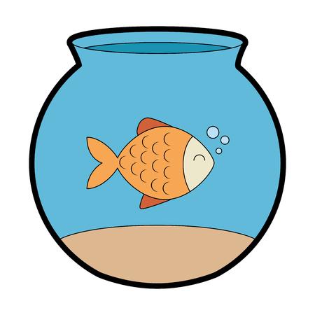 cute fish pet in aquarium vector illustration design