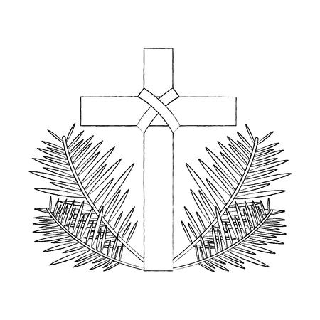 sacra croce religiosa con rami di fronde illustrazione vettoriale schizzo design