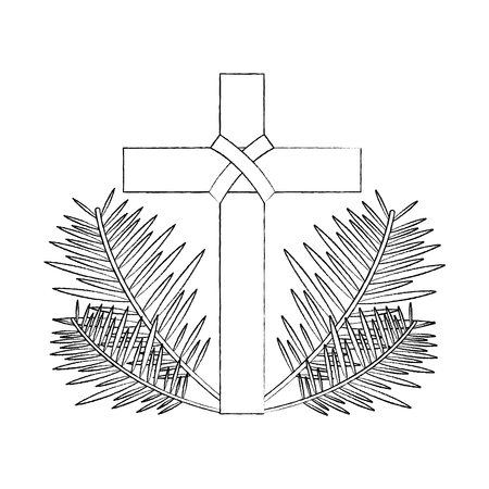 sacred cross religious with frond branches vector illustration sketch design