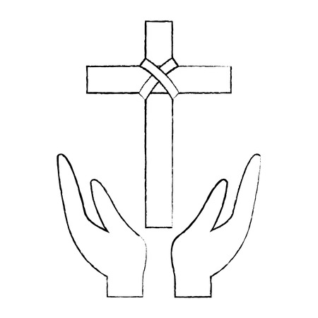 hands praying the sacred cross christianity vector illustration sketch design