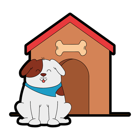 cute dog mascot with wooden house vector illustration design Stock Illustratie