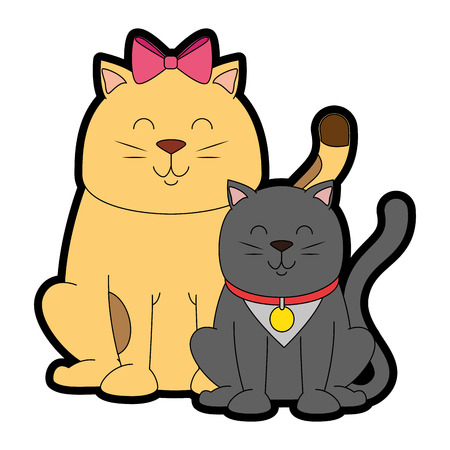 cute cats mascots characters vector illustration design Çizim