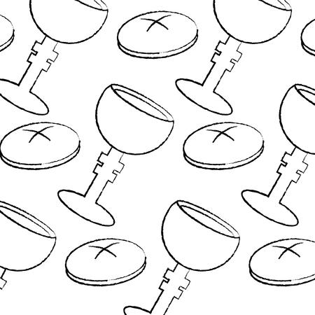 seamless pattern christianity religious grail and bread vector illustration Ilustração