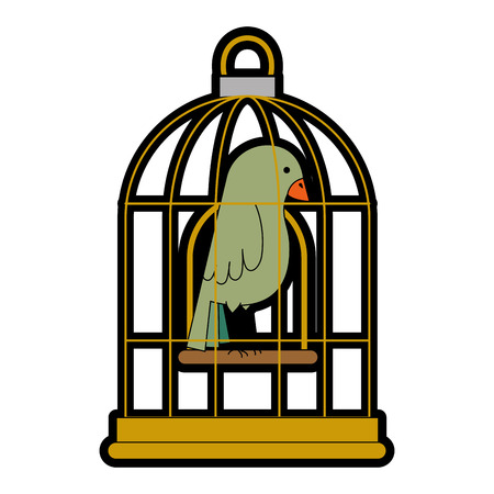 cute bird in cage vector illustration design 스톡 콘텐츠 - 96047319