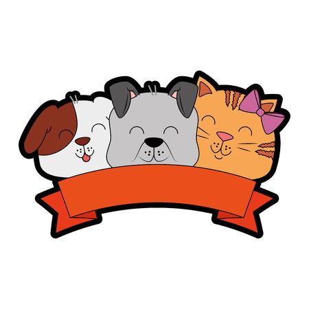Chien mignon et chat avec ruban design illustration vectorielle Banque d'images - 96047342