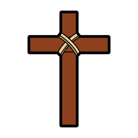 Religiöses hölzernes Kreuz Christentum Symbol Vektor-Illustration Standard-Bild - 96047343
