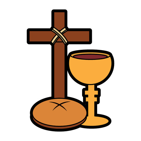 holy week catholic tradition cross breand and grail vector illustration
