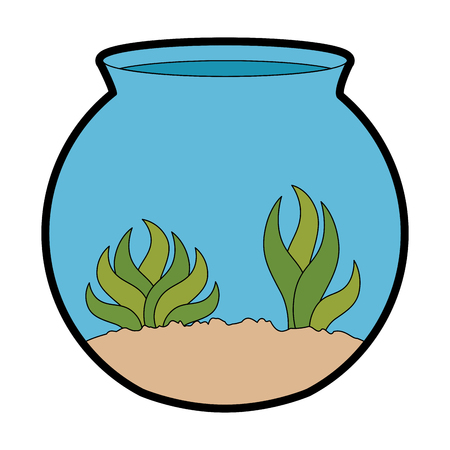 aquarium bowl with algae vector illustration design
