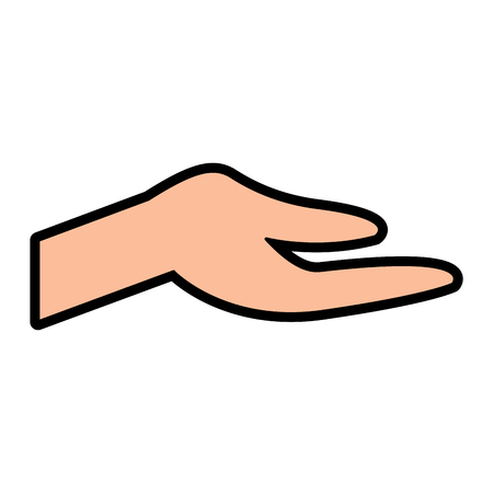 human hand extended open help gesture vector illustration Illustration