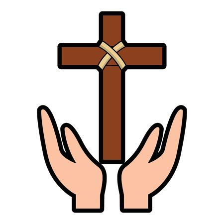 hands praying the sacred cross christianity vector illustration 일러스트