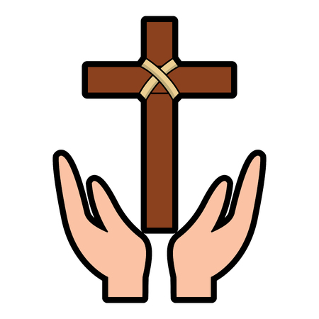 hands praying the sacred cross christianity vector illustration Çizim