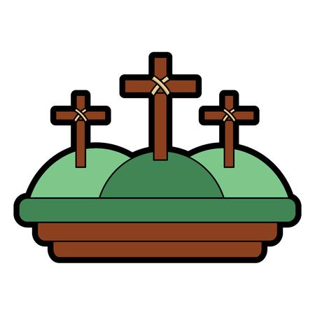 Drie kruisen in de berg religieuze scène vector illustratie Stockfoto - 96052523