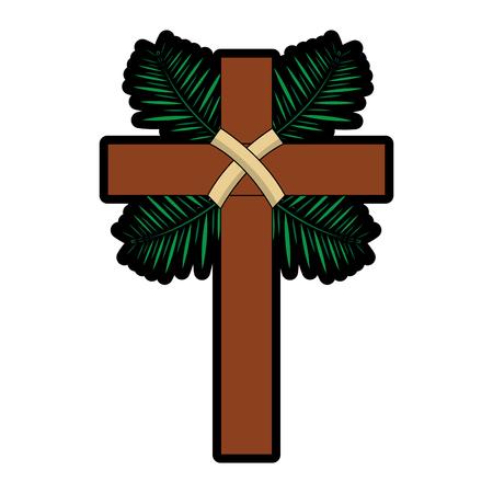traditional branch palm christian cross symbol vector illustration  イラスト・ベクター素材