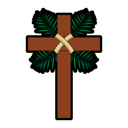 traditional branch palm christian cross symbol vector illustration 向量圖像