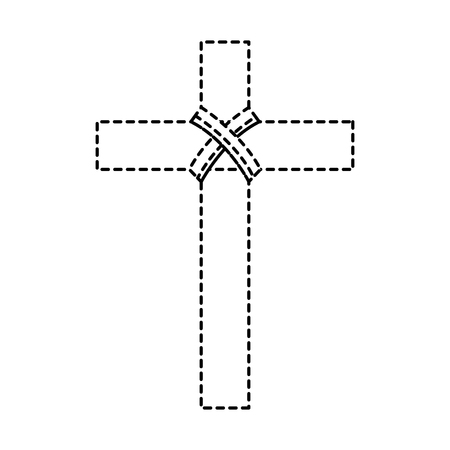 cross christian catholic paraphernalia  icon image vector illustration design  black dotted line  イラスト・ベクター素材