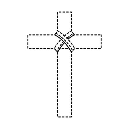 kruis christelijke katholieke parafernalia pictogram afbeelding vector illustratie ontwerp zwarte stippellijn