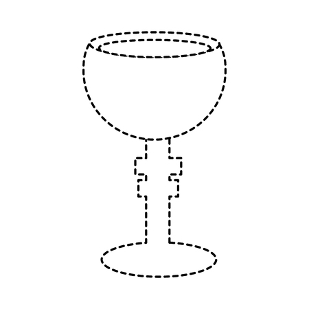 chalice cup icon image vector illustration design  black dotted line