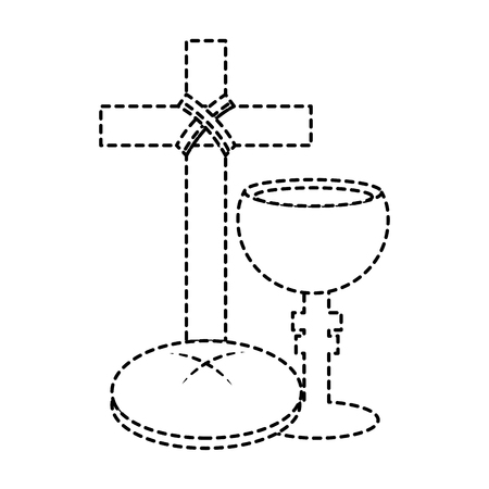 Cruz del emblema del cocinero cristiano cristiano icónico ilustración vectorial de diseño de la línea de puntos negro de la cultura Foto de archivo - 96054688