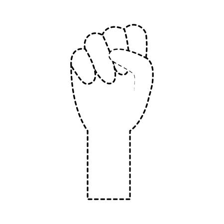 fist hand icon image vector illustration design  black dotted line