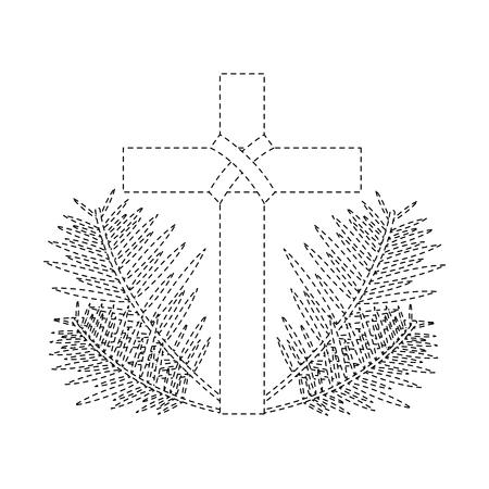Cruz con hojas cruzadas cruz icono de ilustración vectorial de diseño de línea de arte negro de la figura Foto de archivo - 96052645