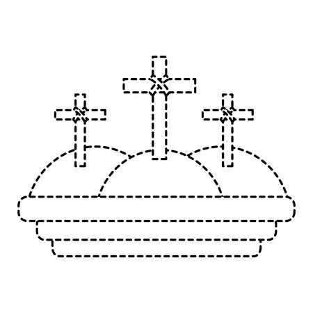 crosses three hills christian catholic paraphernalia  icon image vector illustration design  black dotted line