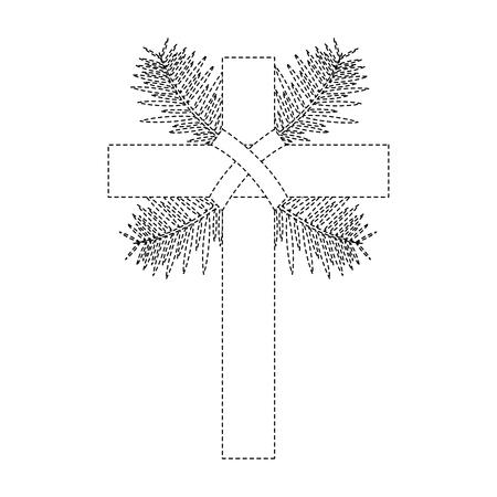 cross with leaves christian catholic paraphernalia  icon image vector illustration design  black dotted line Ilustração