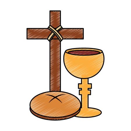 빵 성배 기독교 가톨릭 도구 아이콘 이미지 벡터 일러스트 레이 션 디자인 크로스 일러스트