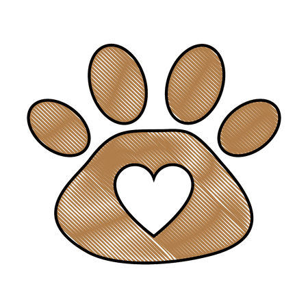 footprint paw mascot icon vector illustration design