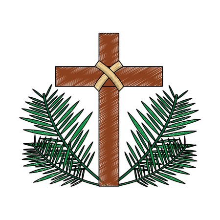 cross with leaves christian catholic paraphernalia  icon image vector illustration design