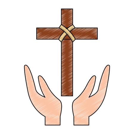 cross and hands christian catholic paraphernalia  icon image vector illustration design  Ilustração