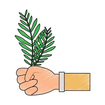 plant leaf hand holding icon image vector illustration design