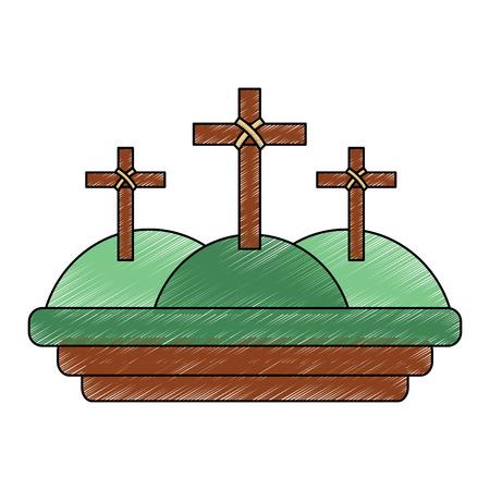 crosses three hills christian catholic paraphernalia  icon image vector illustration design  Ilustração