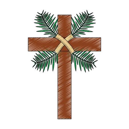 Cruz con hojas cruzadas religión icono de imagen vectorial de diseño de ilustración Foto de archivo - 96052878
