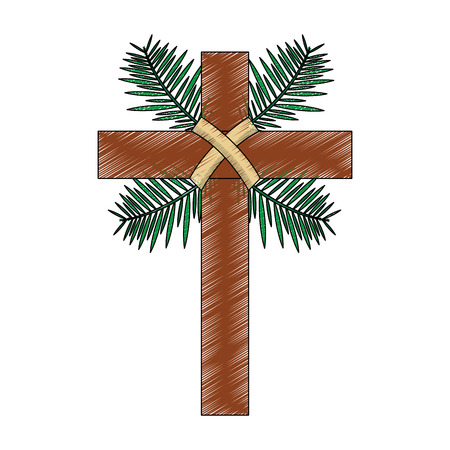 kruis met bladeren christelijke katholieke parafernalia pictogram afbeelding vector illustratie ontwerp