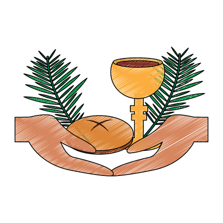 hands with chalice bread christian catholic paraphernalia  icon image vector illustration design