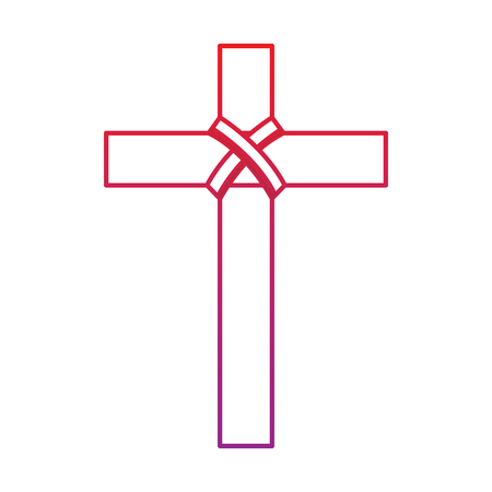 cross christian catholic paraphernalia  icon image vector illustration design  red to purple line