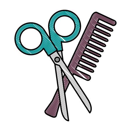 scissors tool with comb vector illustration design Çizim