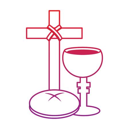kruis brood kelk christelijke katholieke parafernalia pictogram afbeelding vector illustratie ontwerp rood tot paars lijn