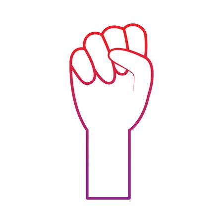 fist hand icon image vector illustration design  red to purple line