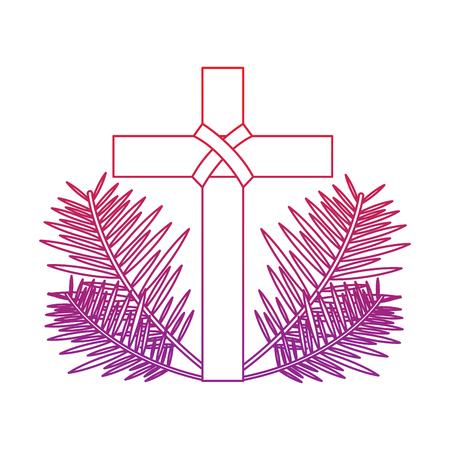 kruis met bladeren christelijke katholieke parafernalia pictogram afbeelding vector illustratie ontwerp rood tot paars lijn