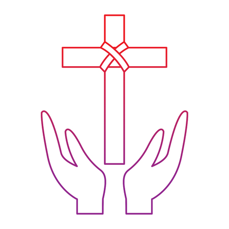 cross and hands christian catholic paraphernalia  icon image vector illustration design  red to purple line  イラスト・ベクター素材