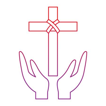 kruis en handen christelijke katholieke parafernalia pictogram afbeelding vector illustratie ontwerp rood tot paars lijn Stock Illustratie