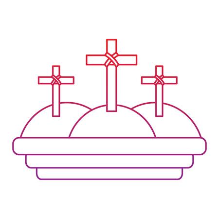 crosses three hills christian catholic paraphernalia  icon image vector illustration design  red to purple line